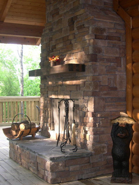 Outdoor Fireplace Under Covered