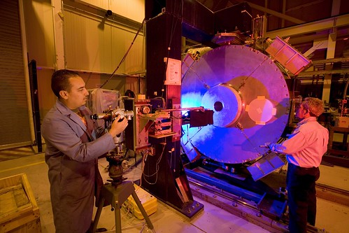 Scientists work on DARHT (Dual Axis Radiographic Hydrotest Facility)