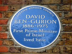 Photo of David Ben-Gurion blue plaque