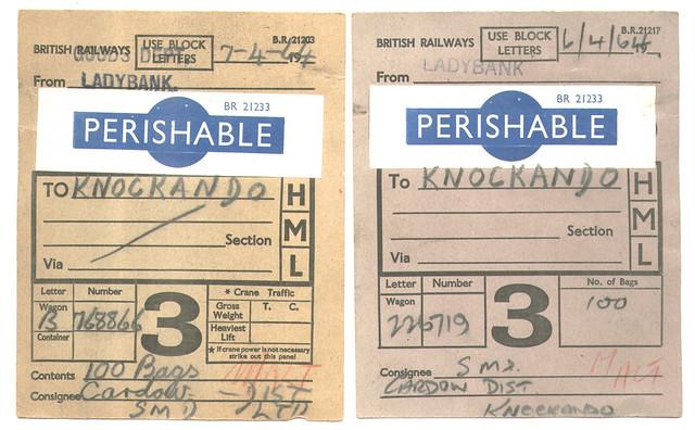 British Railways Perishable Goods Card