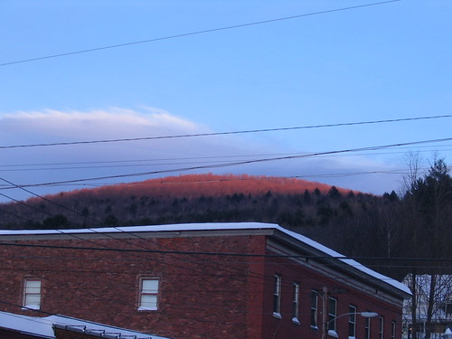 winter sunset red mountain snow golden downtown vermont dusk hour vt northfield paine