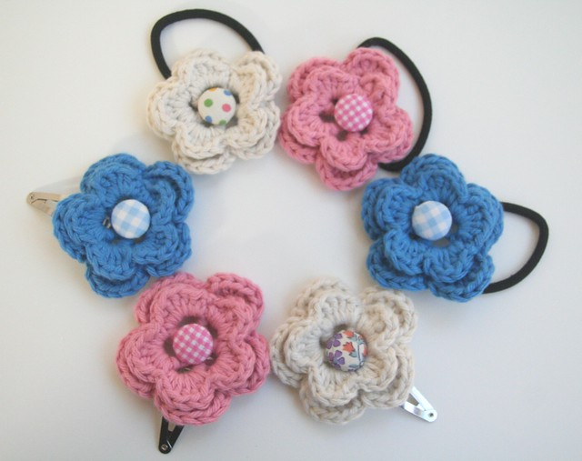 Crochet Hair Accessories : Cotton crocheted hair accessories Flickr - Photo Sharing!