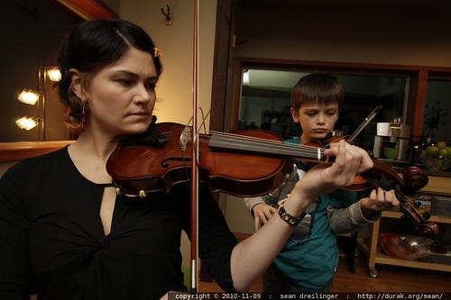 rachel & nick practice violin