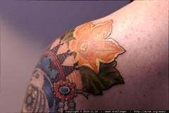 navajo squash blossoms added to rachel's shoulder