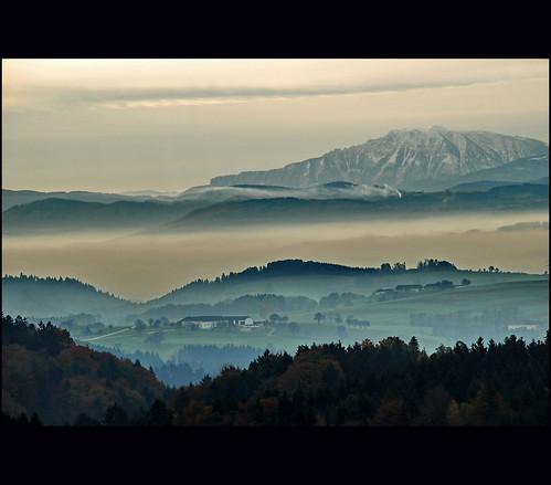 autumn fog landscape nikon ötscher loweraustria vanagram