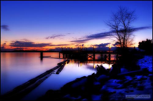 winter sunset snow vancouver richmond hdr