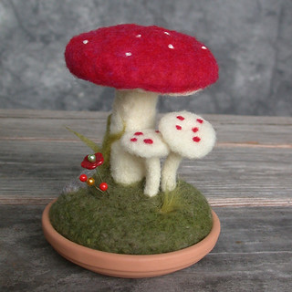 Grassy mushrooms needle felted scene