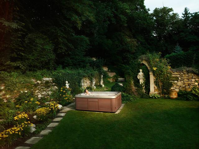 Hot Tub With Amazing Backyard Landscape Artesian Spas