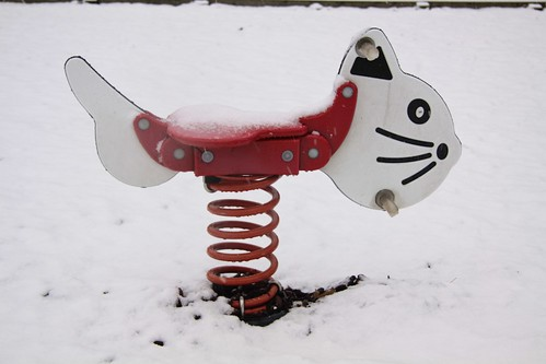 Coiled cat in Colliers Wood snow
