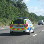 GX09AAE Surrey Police Volvo V70 T6 Armed Response Vehicle on the M25