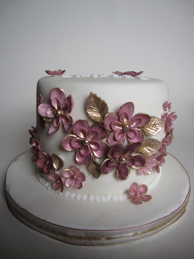 Pink Gold Birthday Cake