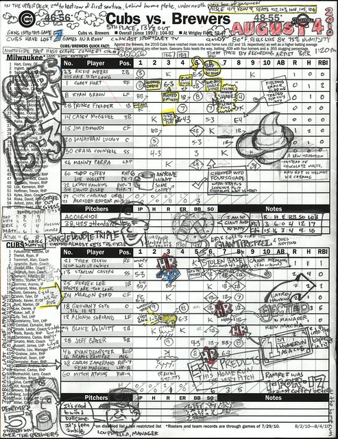 Chicago Cubs scorecard from August 4, 2010 - Wrigley Field