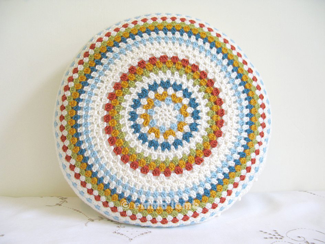 Muriel, round cushion cover hand crochet by Emma Lamb - Now in my Etsy shop!