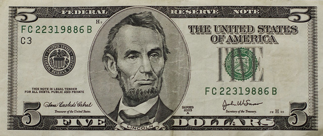 US five dollar bill, front (2013)
