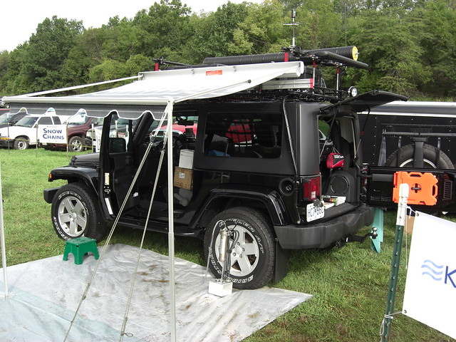 Jeep tricked out with all kinds of equipment at Great