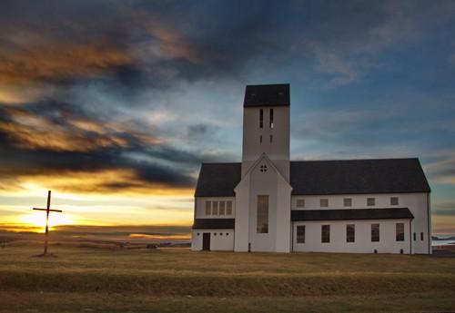 church sunrise iceland skálholt