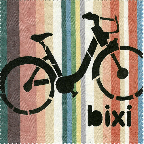 Bixi Bicycle Toronto, hand stenciled fabric patch
