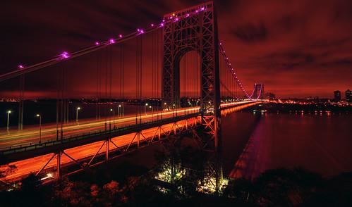 nyc newyorkcity longexposure bridge pink red newyork night geotagged dawn newjersey traffic manhattan nj gothamist volunteer awareness georgewashington breastcancer hdr gwb fortlee georgewashingtonbridge washingtonheights lighttrail mudpig stevekelley
