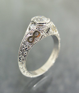 white gold ring with 24k infinity inlay flickr