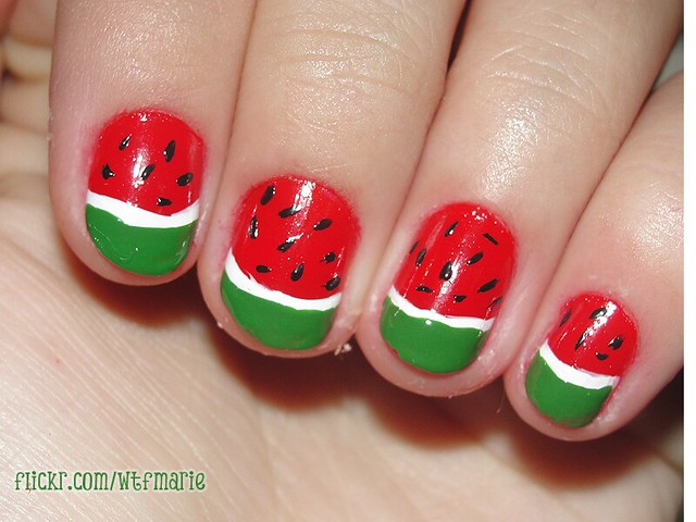 Easy nail designs for short nails aelida watermelon french nail design prinsesfo Images