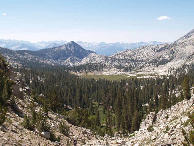 Looking south into Granite Basin while climbing the trail up the steep switchbacks to Granite Pass.