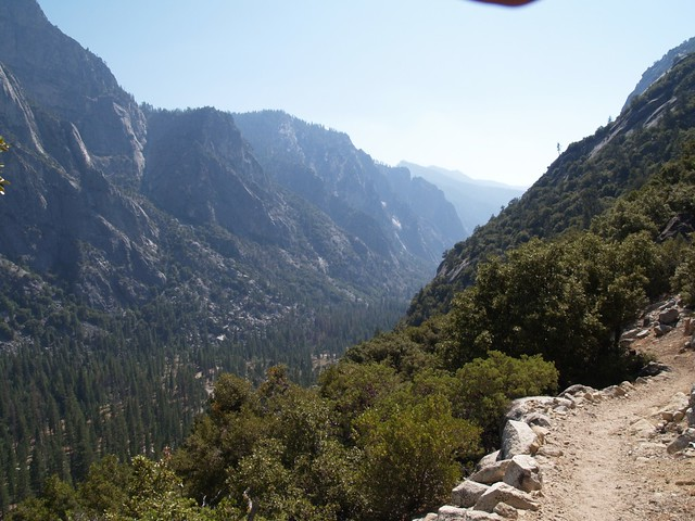 View west down the Kings Canyon on the final set of switchbacks on the Copper Creek Trail