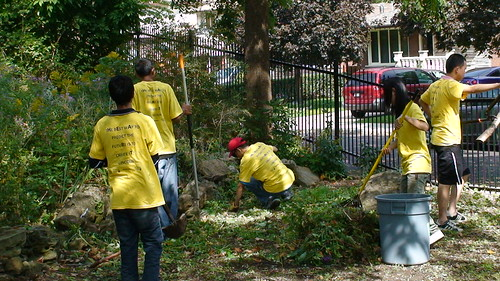 GV volunteers in garden