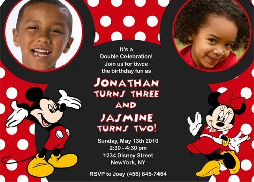 Mickey And Minnie Birthday Invitations