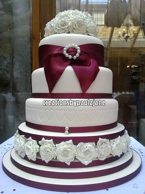 Cake Art Creations By Jane : Red, Ivory Rose Wedding Cake Flickr - Photo Sharing!