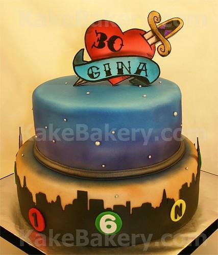 New York City Tattoo Birthday Cake
