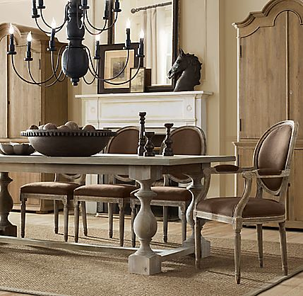 Dining table restoration hardware round dining table for Who manufactures restoration hardware furniture