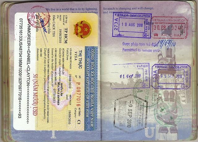 USA Passport: Vietnamese Visa, Vietnam, Singapore