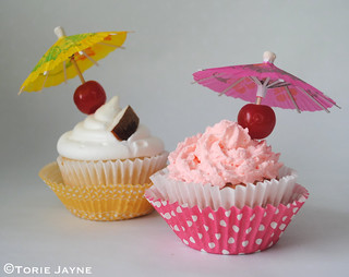 Strawberry Daiquiri & Pina Colada Cupcakes