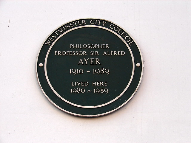 Alfred Ayer green plaque - Philosopher Professor Sir   Alfred Ayer  1910-1989  lived here  1980-1989