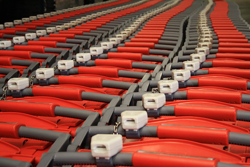 Red plastic carts.