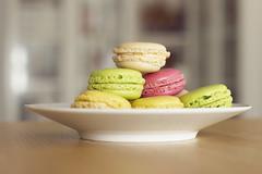 meal(0.0), breakfast(0.0), ice cream(0.0), produce(0.0), baking(1.0), yellow(1.0), food(1.0), macaroon(1.0), dessert(1.0),