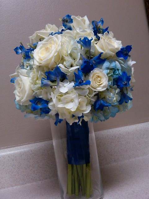 Blue and white bridal bouquet flickr photo sharing for White and blue flower bouquet