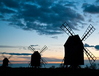 Windmills in sunset. (Explored)