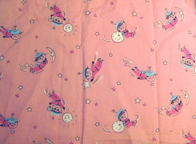 Vintage fabric space girls flickr photo sharing for Space photo fabric
