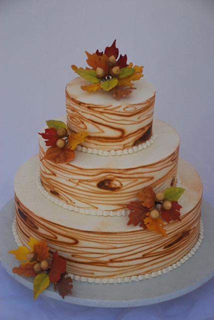Wood grain fall leaves wedding cake 3 Tier Italian Meringue Buttercream