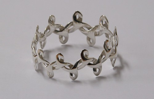 silver bracelet 3D printed by Shapeways in Silver