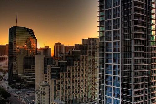 california street city orange sun glass skyline sunrise buildings reflecting sandiego highrise rise 3exposurehdr