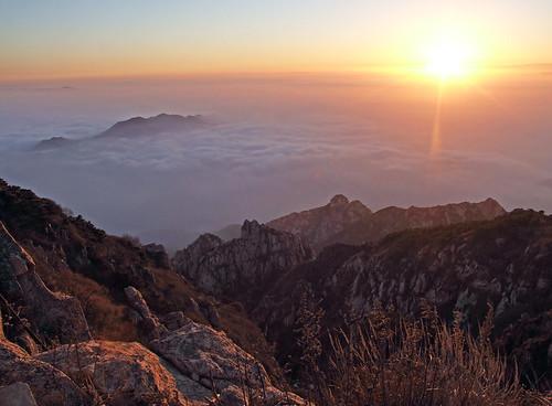 china autumn sky mountain tree fall clouds sunrise landscape asia dana tai taishan iwachow