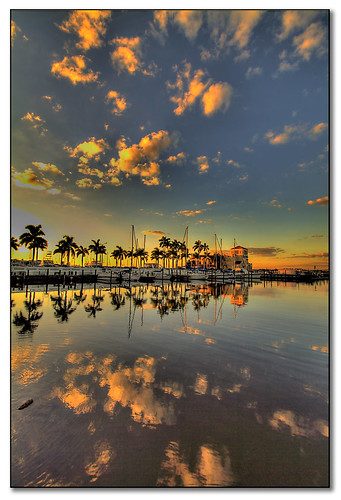 sunset cloud reflections florida palmtree hdr bradenton cloudscapes twindolphin manateeriver