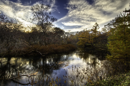 autumn trees sunset sky japan clouds forest river lost nikko hdr tochigi 3xp agustinrafaelreyes