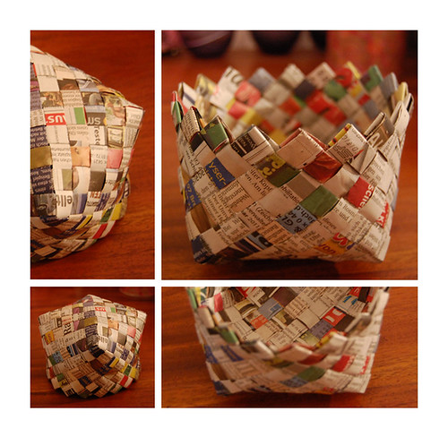 Basket Weaving Using Newspaper : Recycling ideas weaving basket with newspaper make