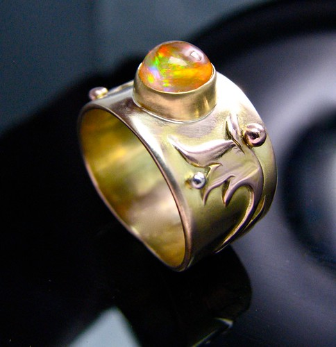 fire opal in 14 gold w rose gold overlay