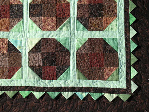 Mint chocolate snowball with prarie points quilt