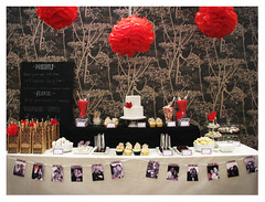 Flamenco rose inspired dessert table