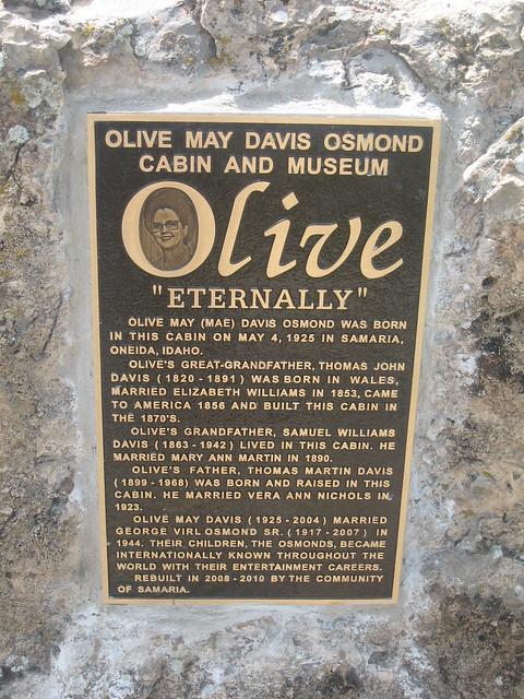 Olive May Davis Osmond Cabin And Museum Samaria Idaho